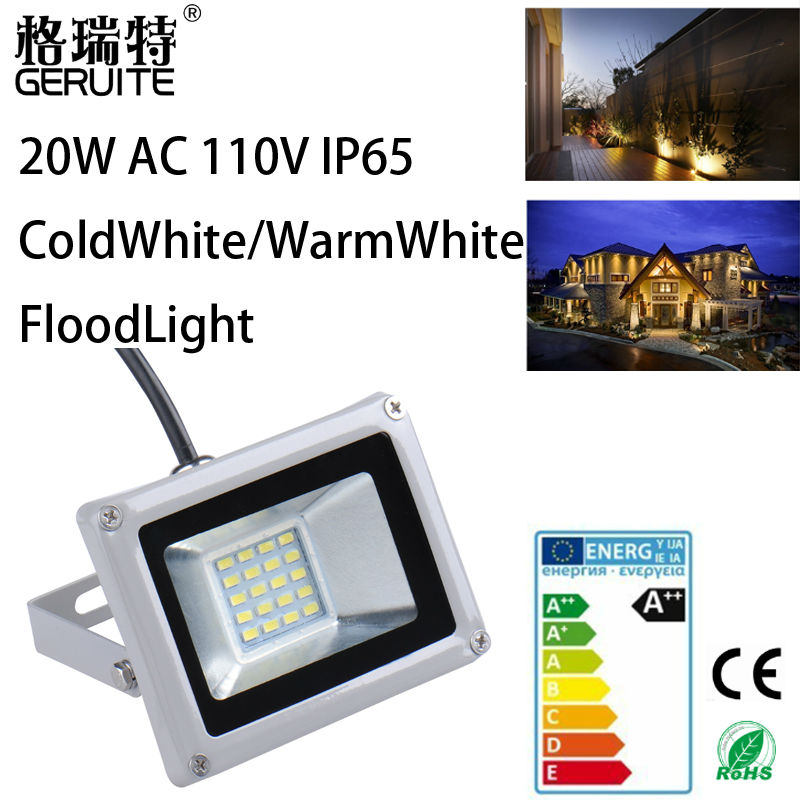 1pcs Led Flood light outdoor lights 20W AC 110V 1200LM 20LED SMD 5730 IP65 Floodlights For street Square Highway Wall billboard(China (Mainland))