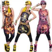 HIPHOP Street dance Tops + pants Loose Casual Woman Sports suit Jazz DS Costume Lion Pyramid Performance clothing ZL2429 - Mei Han Trading Co., Ltd. store