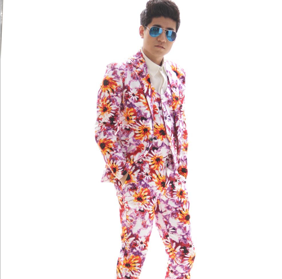 Plus Size Fashion Casual Men Flower Print Slim Suits Set Jacket