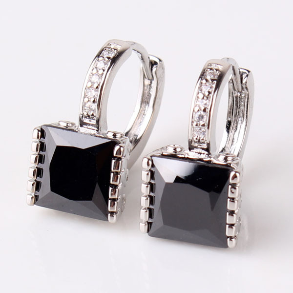 18K White Gold Filled Earing Black Zircon Crystals Hoop Earrings For Women Bijoux Jewelry Ear-ings Fashion Free Shipping E302b(China (Mainland))