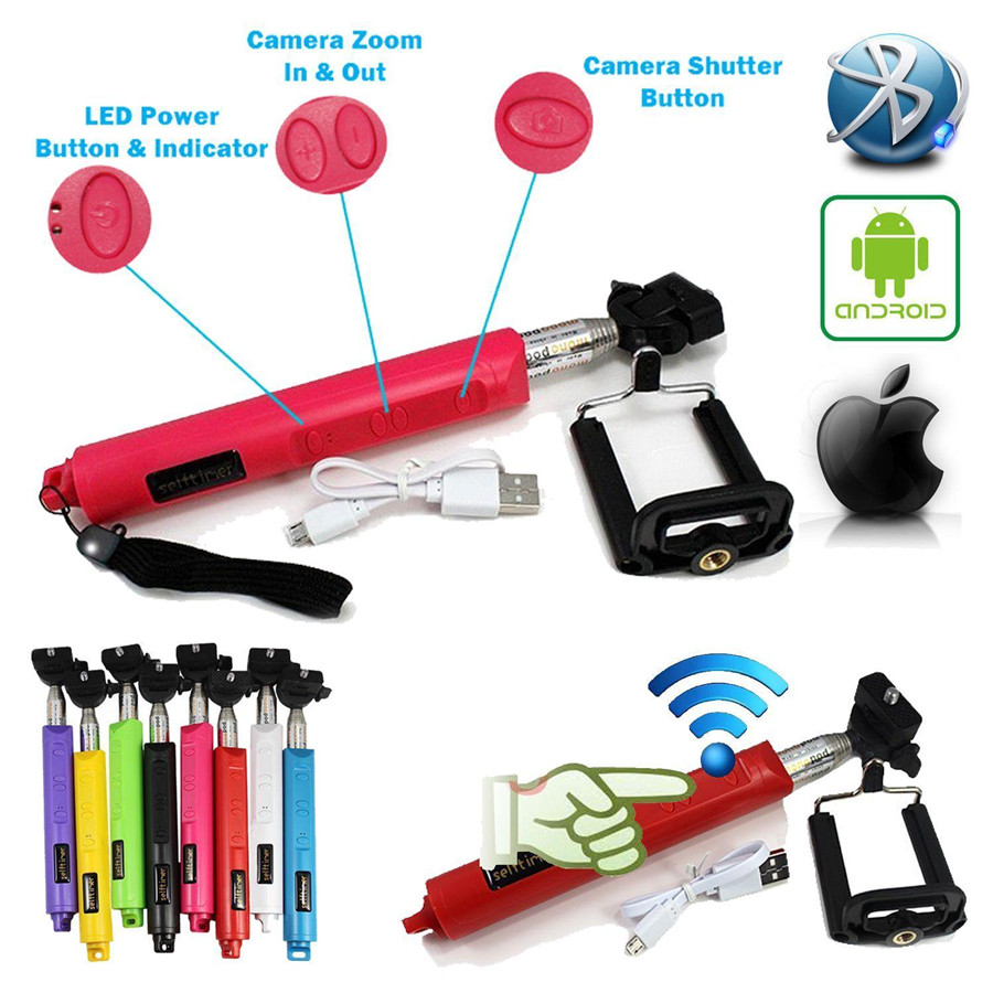 Blue For Iphone 6 Samsung HTC Wireless Handheld Rechargeable Bluetooth Shutter Selfie Remote Stick Monopod Tripod Extendable(China (Mainland))