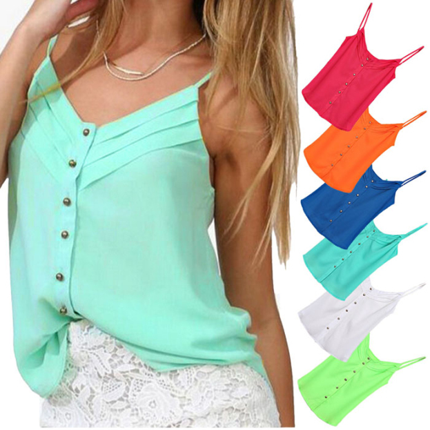 Fantastic 2015 Hot Summer Sexy Women Loose Thin Chiffon Strap Tank Tops Sleeveless Vest Camis Blouses Shirts(China (Mainland))