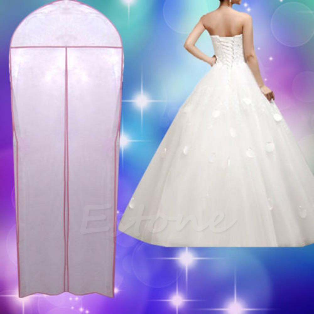 Free Shipping New 180cm Breathable Wedding Prom Dress Gown Garment Dustproof Bag Clothes Cover(China (Mainland))