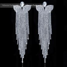 Rhinestone Glass Crystal Bridal Long Earrings Pendant Drop Earrings Top Quality Butterfly Tassel Earrings for Women EH221(China (Mainland))