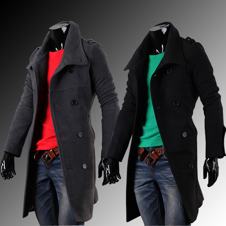 2015 Hot Latest style Winter clothes Loose coat Male epaulette medium-long double breasted overcoat outerwear - Pike shop store