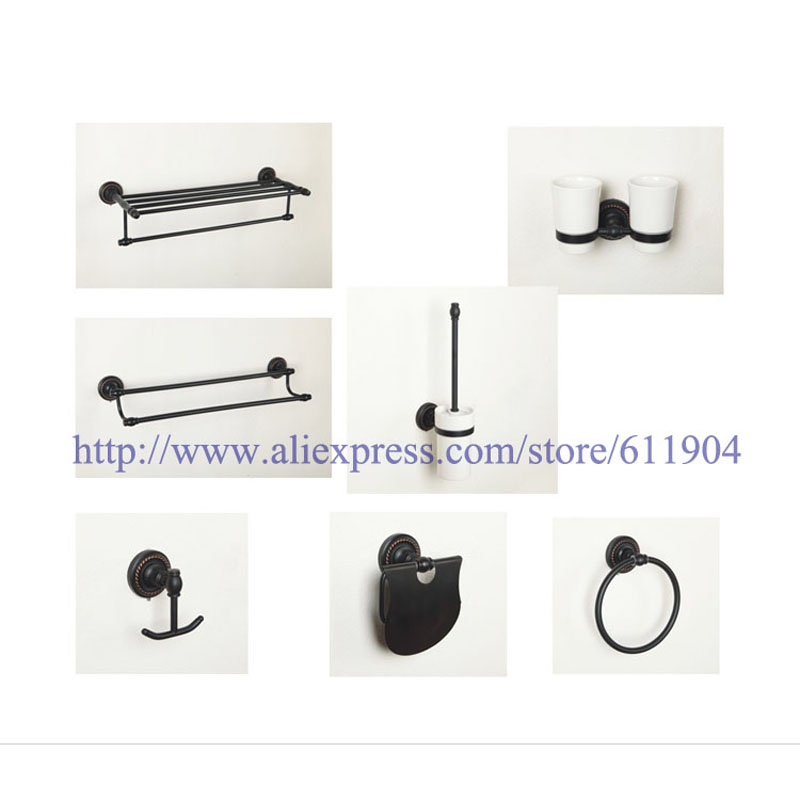 Oil Rubbed Bronze ORB Bathroom Hardware 7 Piece Set Bath Room Accessaries 3HA0102(China (Mainland))