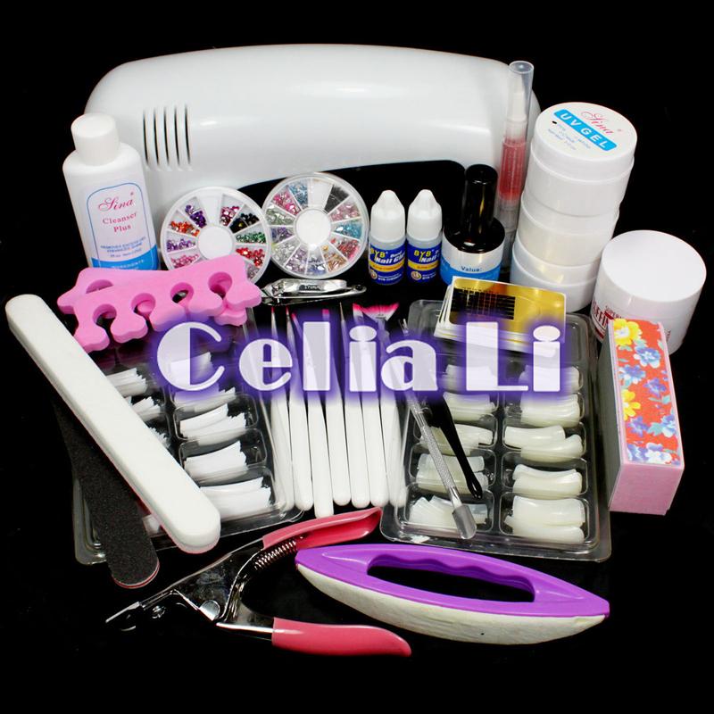 New UV Gel Kit Sets Pro Nail Art UV Gel Nail Kits 9W UV lamp Light Brush Gels Remover nail tips glue acrylic Nail Kit 315 set(China (Mainland))