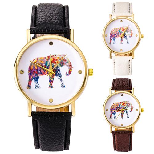 Women Students Quartz Wristwatch Elephant Pattern Golden Case Faux Leather Strap C2K5W