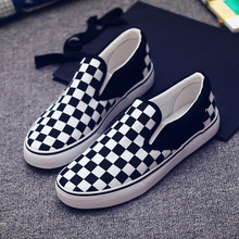 2016 new checkerboard Men and Women Canvas Shoes,Fashion lazy Shoes, Brand Casual Shoes,Plus Size 35-44