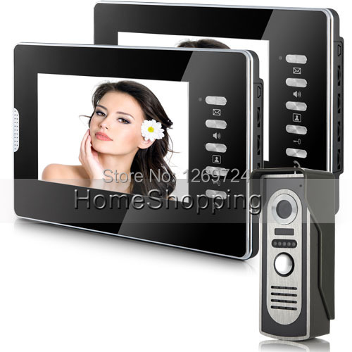 Brand New Cheap Wired 7 inch Color Video Door Phone Intercom System 2 Monitors + Outdoor Door Camera FREE SHIPPING IN Stock(China (Mainland))