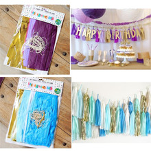 Buy 4M Tissue Paper Tassel Garland DIY Wedding Decoration Paper Flower Decorations Birthdays Party Decorations Event Gift Pack for $5.99 in AliExpress store