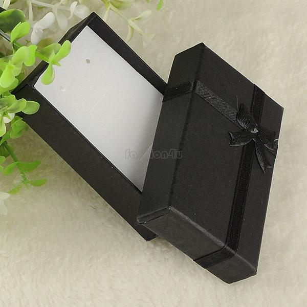 16pcs/lot 8*5*2.5cm jewelry earring bracelet ring gift box black square carton bow case package random color ES4568(China (Mainland))
