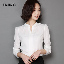 Buy 2016 Ladies Formal White Chiffon Blouse Women OL Elegant Long Sleeve Sexy V-Neck Chiffon Shirt Women Tops Workwear Plus Size for $12.12 in AliExpress store