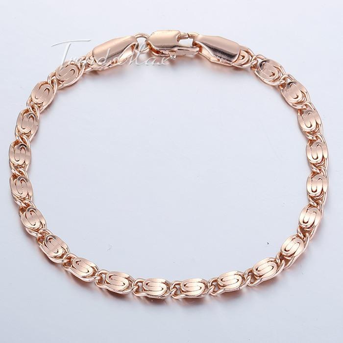 4mm Womens Mens Chain Girls Boys Unisex Snail Link 18K Rose Gold Filled GF 18 4cm