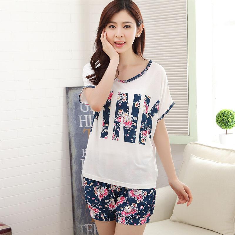 16Big Fashion Summer High Quality Milk Silk Flowers Pink Short Sleeved Lace Spliced White Shorts Pajamas Home Clothing Wholesale(China (Mainland))