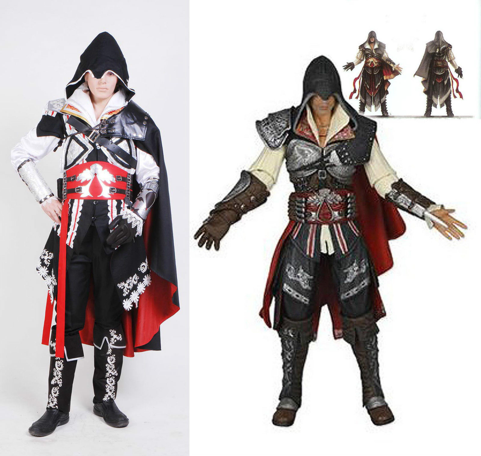 Assassinu0026#39;s Creed 2 II Ezio Cosplay Costume Black Outfit