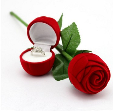 Fashional Romantic Red Rose Engagement Wedding Ring Boxes Earrings Jewelry Gift Box(China (Mainland))