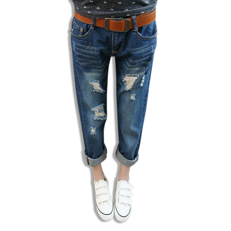 2015 New Fashion Spring Women Cool Loose Hole Jeans Capris Haren Pants Roll Up Cuff Casual Denim ...