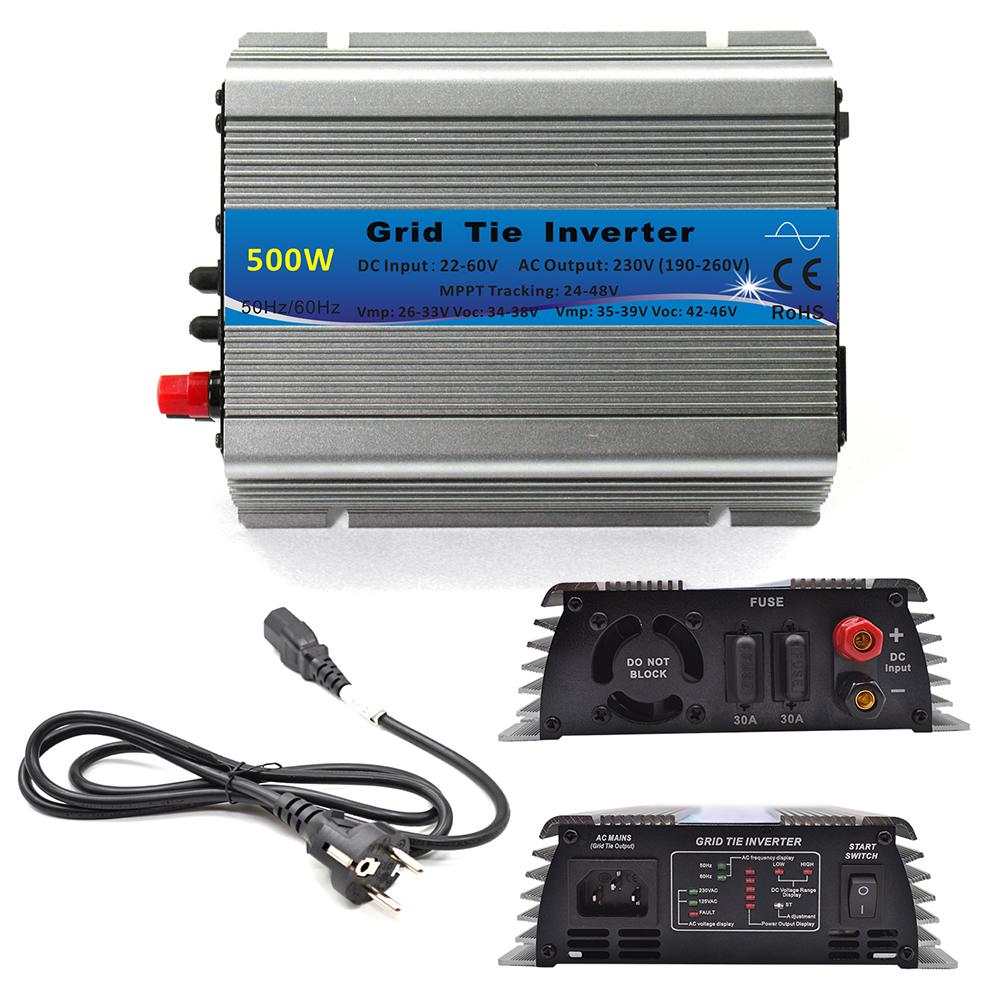 500W Grid Tie Inverter MPPT Function 22-60VDC Input To 110V or 230VAC Pure Sine Wave Inverter 500W Solar Power Inverter(China (Mainland))