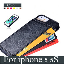 Luxury Fashion Phone Case For iPhone 5 5S TPU Cover With Card Holder Design Mobile Phone Bags Case Covers For Apple iPhone5 5 S
