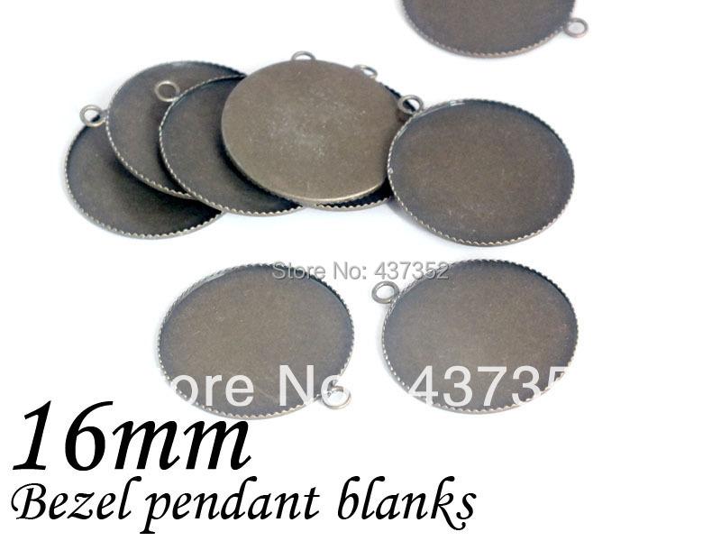 Free ship! 1000piece Antique bronze bezel blank pendant base, pendant tray 16mm cameo/cabochon setting<br><br>Aliexpress