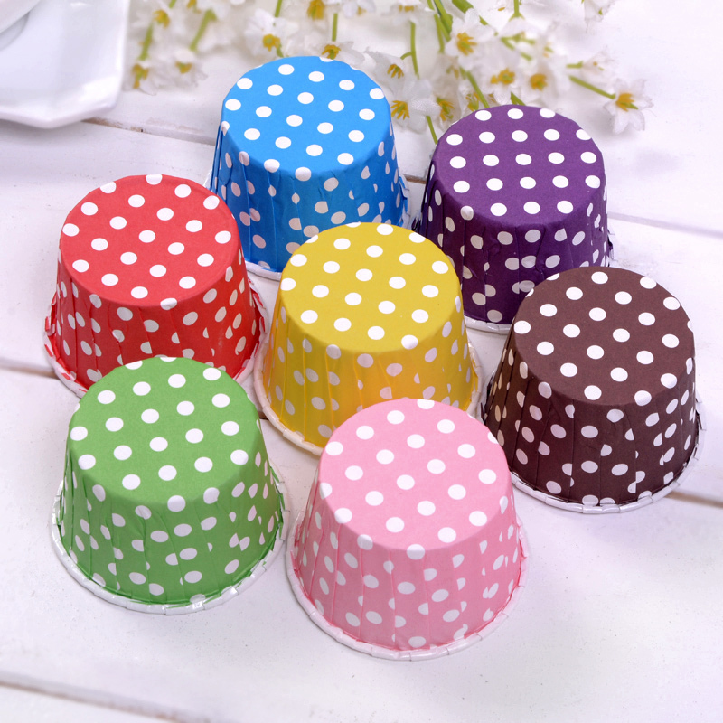 Polka Dot Mini Muffin Cupcake Mold Wedding Party Film Pudding Paper Cake Cup - 10 Boxes/Lot(China (Mainland))