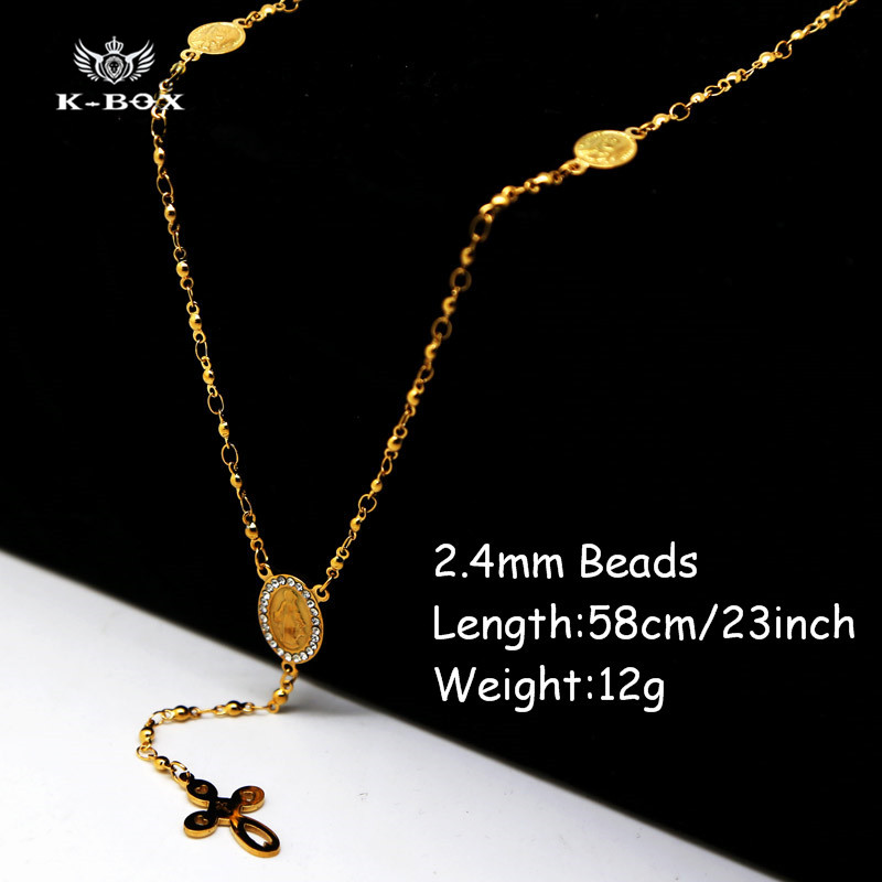 "Stainless Steel Gold 2.4mm Beads Iced Out Rosary Chain Thress Oval Medal Virgin Mary Jesus Cross Hiphop Vintage Necklace -23""(China (Mainland))"