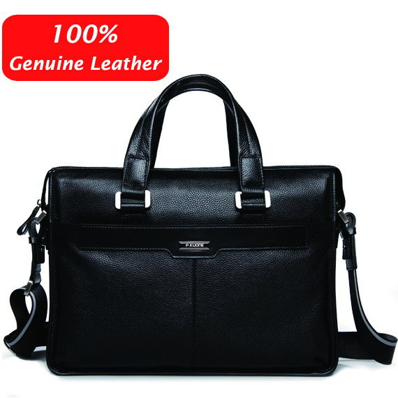 Free shipping P.kuone man commercial male handbag genuine leather shoulder men's casual bag leather briefcase(China (Mainland))