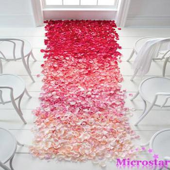 500pcs Table Confetti Decoration Crafts Silk Rose Petals Flower Engagement Wedding Celebrations Party Festive Events Supplies