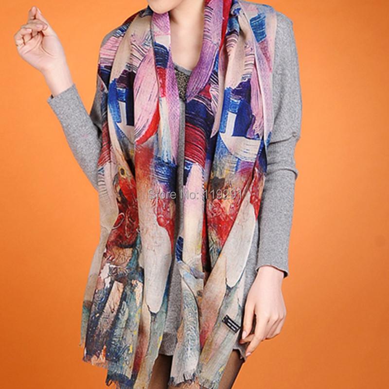Popular Trendy Soft Superfine Wool Pashmina /Scarf Digital Printing Colorful Fashion Cashmere Wrap Decorations w3918(China (Mainland))