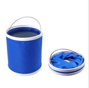 Large Multifunctional 11L Blue Red Oxford Portable Folding Bucket Outdoor Camping Hiking Fishing Storage Box - I Case store