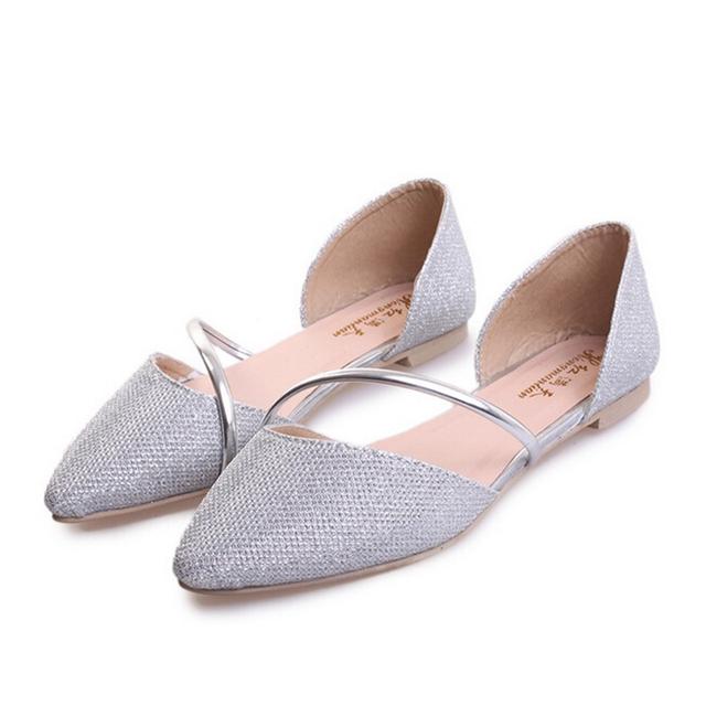 Дизайнер женщины квартиры обувь золото серебро блесточки скольжение на женщины обувь ...