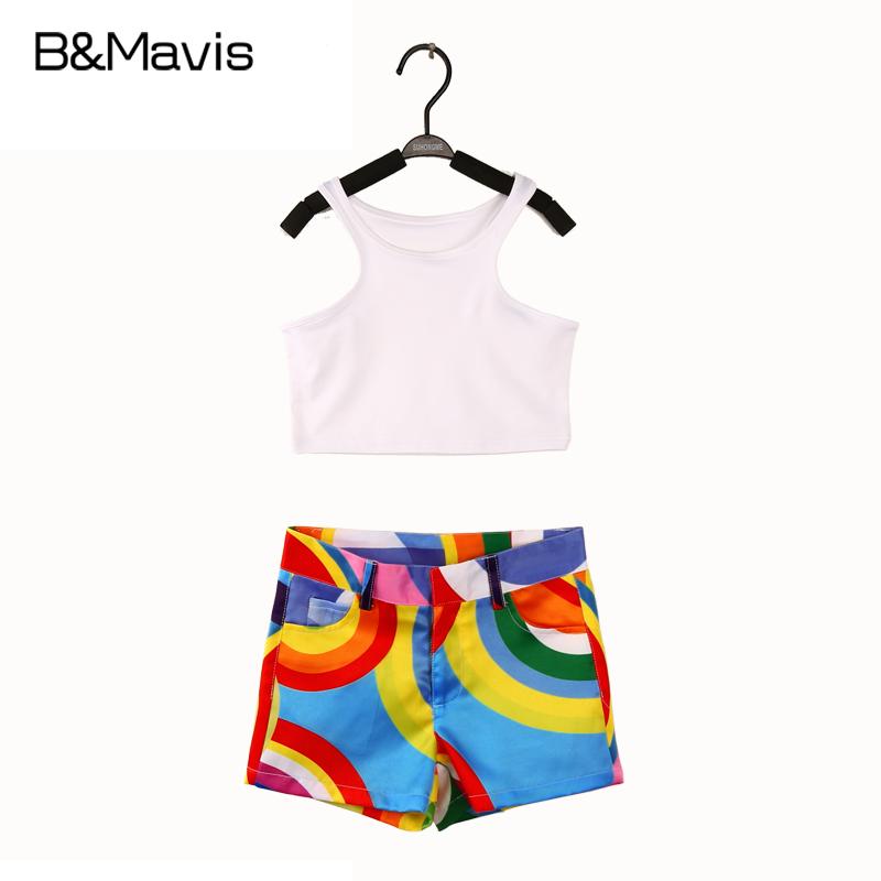 2016 Children girls Set White vest + girls Shorts 2 Pieces Girls Clothing Sets fashion kids clothes Summer teenage girls outfits(China (Mainland))