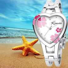 KIMIO lady fashion bracelet quartz watch ladies Love heart Lucky clovers pattern dial women wristwatch free