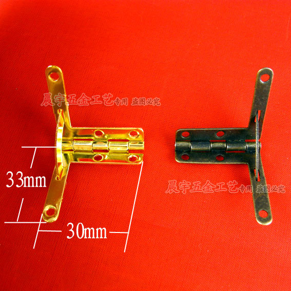 Wholesale 33*30MM Flemingia Hinge support Spring Hinge Muhe metal accessories 7 words Right Angle hinge 50pcs/lot(China (Mainland))