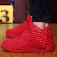 Fashion Autumn New 2016 Men Casual Shoes Red Suede Leather Men High Top Casual Shoes Breathable Winter Men Boots Red Botas Blue