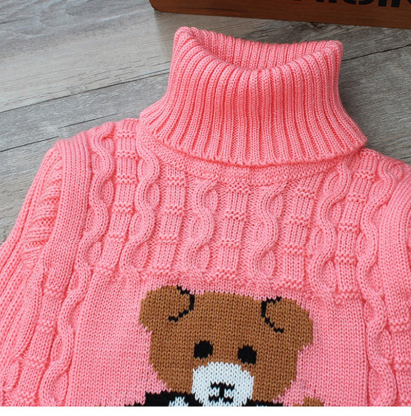Hot Sale Baby Girls Boys jumper Autumn Winter Cartoon Sweaters Kids Knitted Pullovers Turtleneck Warm Outerwear Boys Sweater