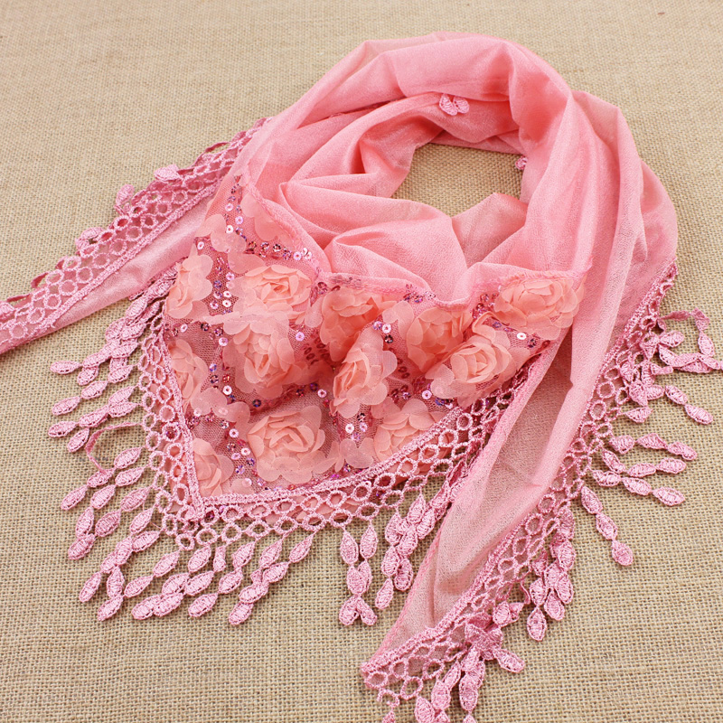1pcs/lot spring and autumn women's embroidered trigonometric cape scarf bib tassel silk scarf free shipping(China (Mainland))