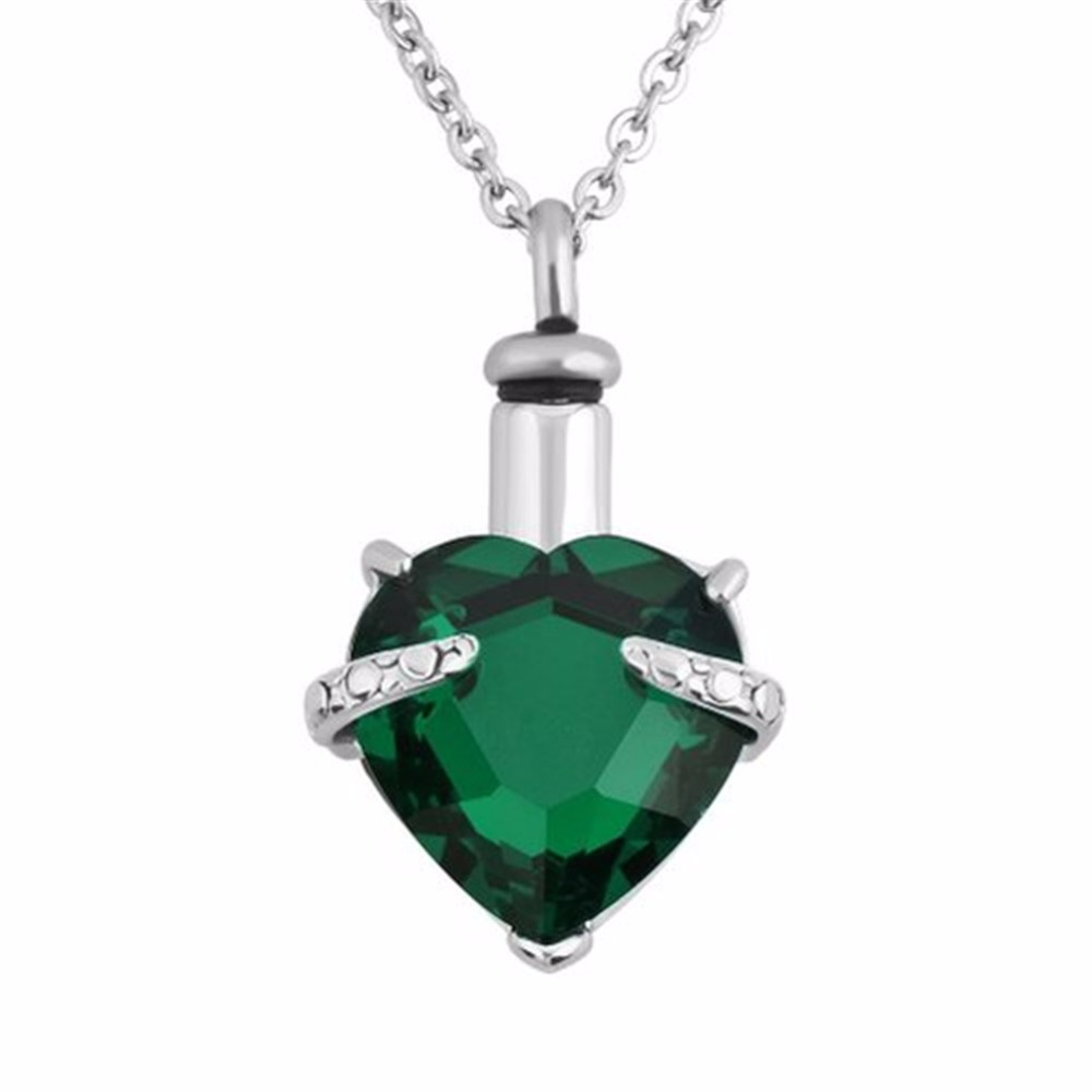 Buy panda urn necklaces green cremation jewelry heart for Jewelry to hold cremation ashes