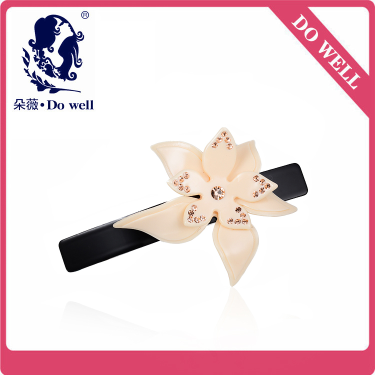 Cheap High Quality Women Sweet Flowers Hair Barrette Clip 8.7cm Long free shipping made from china(China (Mainland))