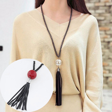 Buy LNRRABC New Tassel Pendant Long Sweater Chain White Red Beads Chains Necklace Fashion Jewelry Women Gift for $1.25 in AliExpress store