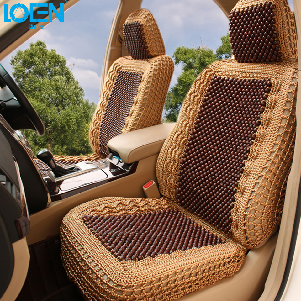 Luxury Car Seat Cushion Hand-woven Ice Silk with Wood Beads Car Seat Cover Summer Front&Rear 5 Seat Universal Car Seat Cushion(China (Mainland))