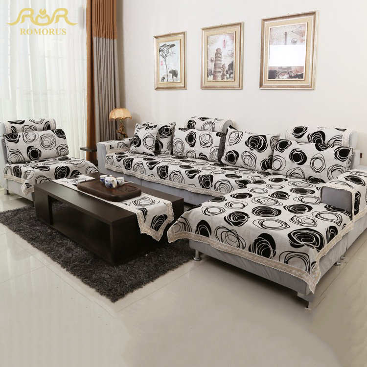 Romorus Modern Sofa Cover Set White And Black Cotton Sofa Towel Sofa Backrest Armrest Towel