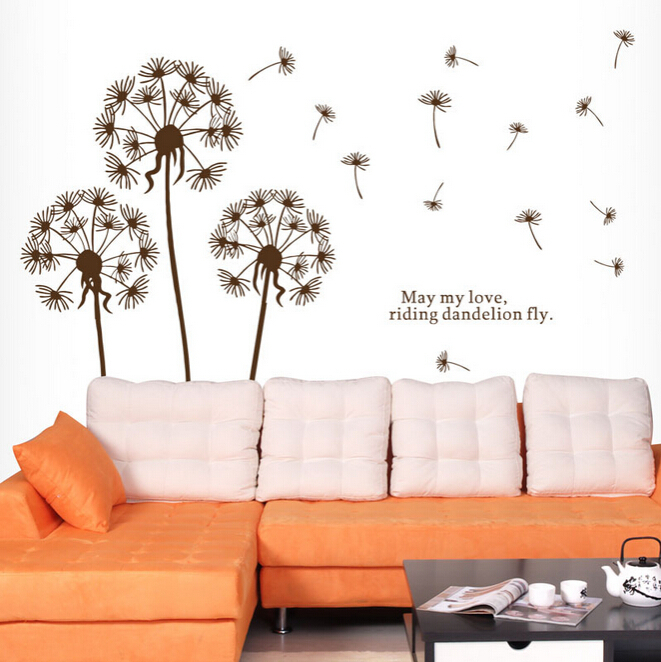 Bed/Living Room Dandelion Stickers Cartoon Wall Stickers Home Decor Accessory Free Shipping Stickers for Wall(China (Mainland))