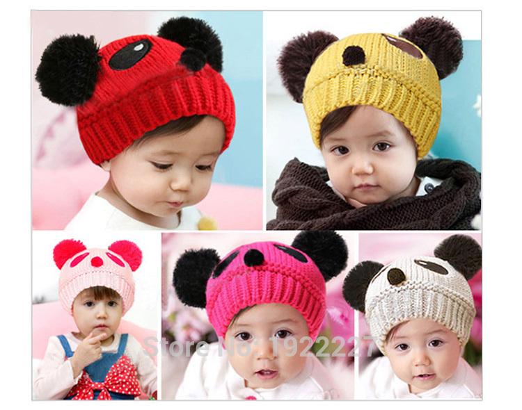 2016 Hot Sale Warm Toddlers Baby Kids Beanie Cap Cartoon Panda Ball Knited Crochet Winter Hat(China (Mainland))