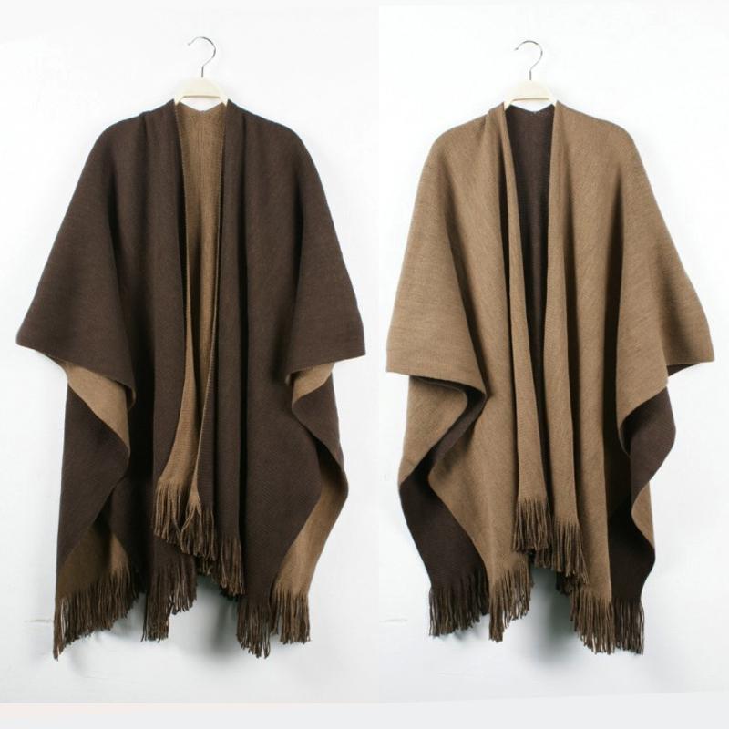 Pro Brand Poncho Women's Winter Chic Tassel Fringe Vintage Blanket Womens Lady Knit Wrap Shawl Cape Scarf Poncho Gift WO-004(China (Mainland))