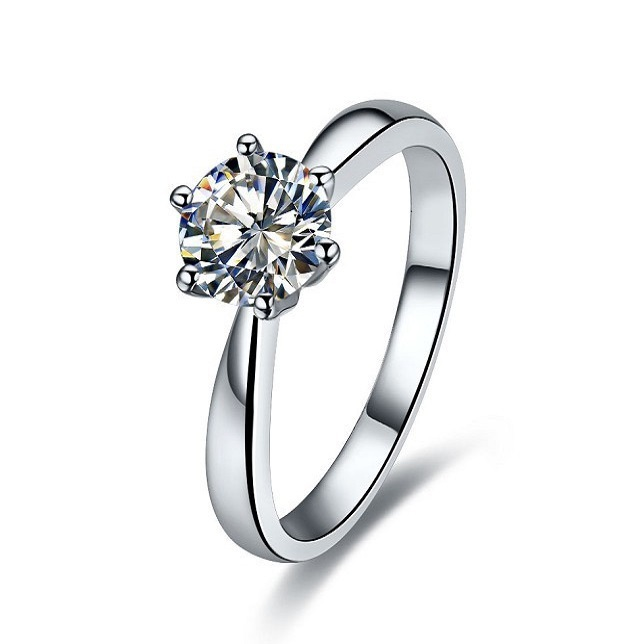 Fashion 2CT Brief Charming Jewellery Synthetic Diamond Engagement Ring for Women 925Sterling Silver Platinum Plated Wedding Ring(China (Mainland))