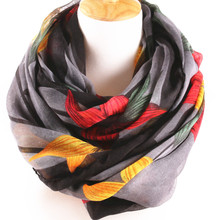 2015 New arrival  winter scarf big Flower Printed cotton and bali infinity scarf Circle Loop Cowl Accessories for women (China (Mainland))