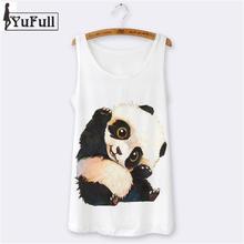 Summer Tops 2016 hipster sexy sleeveless women tank top camisole sport camis womens tanks cartoon Panda print o-neck white(China (Mainland))