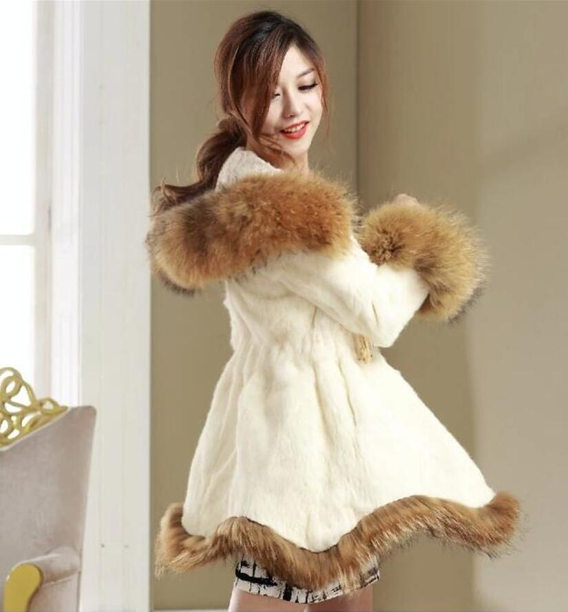 2015 New Korean women winter faux rabbit fur coats,Long Slim Princess style trench coat,Hooded thick warm schoolgirls jackets(China (Mainland))